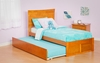 Modern Metro Twin Size Platform Flat Panel with Trundle Bed Furniture