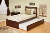 Modern Mission Twin Size Platform bed Flat Panel with Trundle Bed Furniture