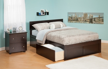 Modern Orlando Platform bed Flat Panel with 2 Drawers