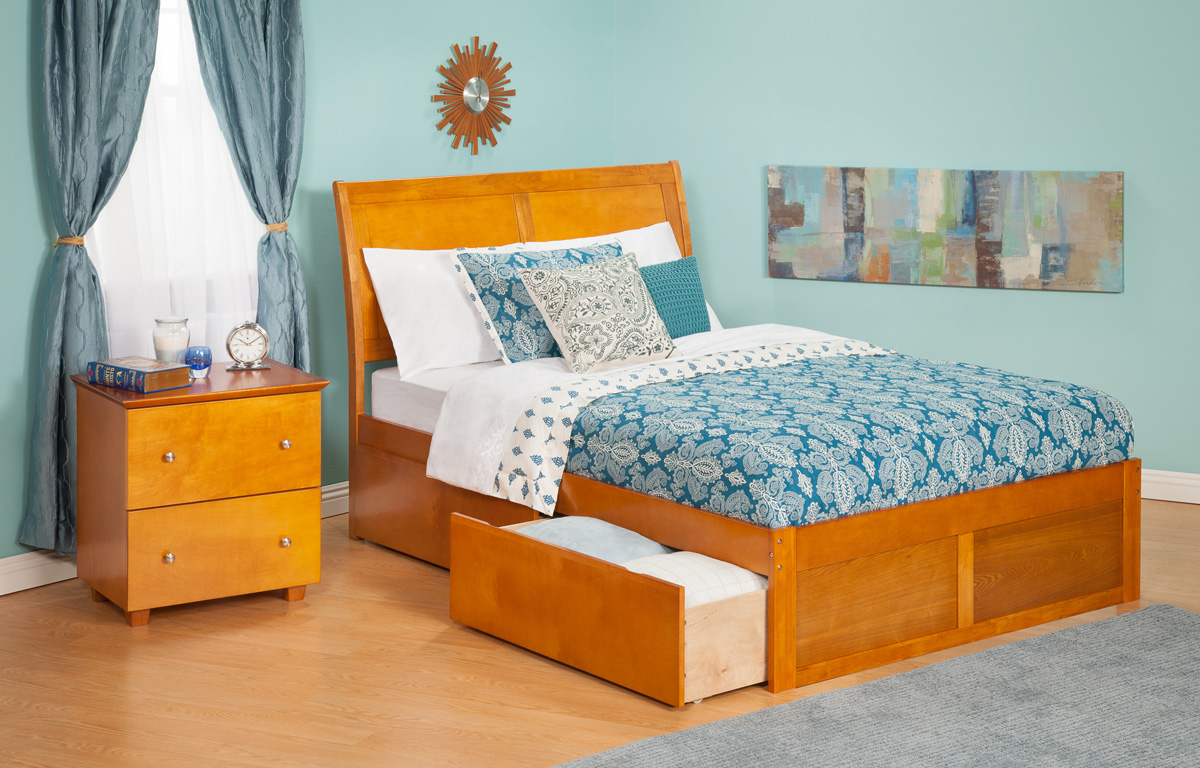 Urban Lifestyle Portland Queen Size Platform Bed Flat Panel With Drawers Atlantic
