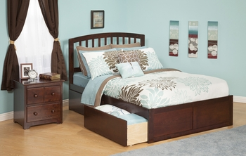 Modern Richmond Platform bed Flat Panel with 2 Drawers Furniture