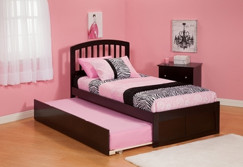 Modern Richmond Twin Size Platform bed Flat Panel with Trundle Bed Furniture