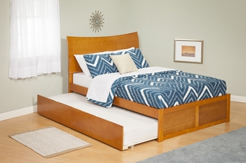 Modern Soho Twin Size Platform bed Flat Panel with Trundle Bed Furniture