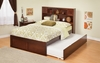 Modern Twin Size Newport Bookcase Platform bed Flat Panel with Trundle Bed Furniture