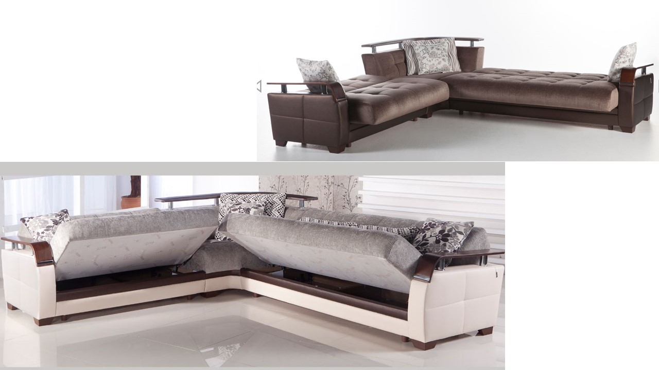 Sectional Bed With Storage Natural Guest Bedroom Arlington