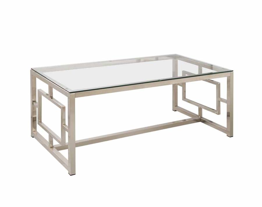 Modern glass metal coffee table living room contemporary for Contemporary glass top coffee table