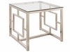 Occasional Group Contemporary Metal End Table with Glass Top & Geometric Motif
