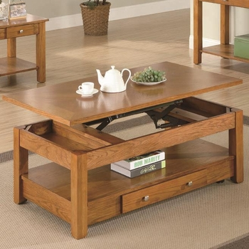 Occasional Group Lift Top Coffee Table with Storage Drawer and Shelf