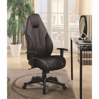 Office Chairs Black Gaming Chair with Leatherette Seat