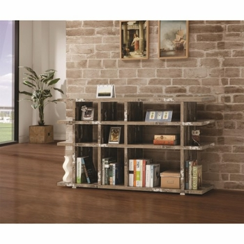 Open Bookcase with Distressed Wood Finish