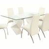 Ophelia Contemporary Glass Top Dining Table with Double Zigzag Pedestals