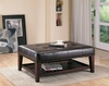 Faux Leather Tufted Ottoman with Storage Shelf 500872