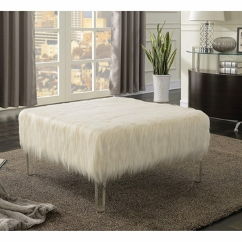 Faux Sheepskin Ottoman with Acrylic Legs 500780