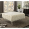 Ottomans Faux Sheepskin Ottoman with Acrylic Legs
