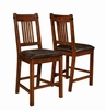 Padima Rustic Counter Height Chair with Faux Leather Cushion