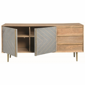 Pennington Contemporary Server with Brass Inlay Design