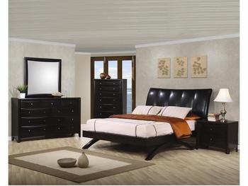 Phoenix Contemporary 4 PC Faux Leather Queen Bedroom Set