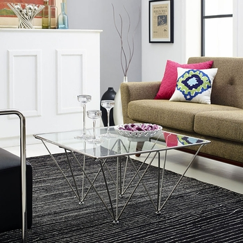 PRISM SQUARE COFFEE TABLE IN SILVER