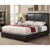 Queen Caleb Upholstered Bed in Dark Brown Faux Leather