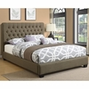 Queen Chloe Upholstered Bed with Tufted Headboard & Neutral Color Fabric