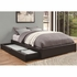 Queen Storage Bed Platform with Black Leather-Like Vinyl