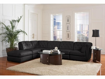 Quinn Black Sectional 2 Corners, 3 Armless chairs and ottoman