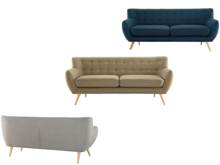 Modern Wooden Legs Fabric Sofa With Buttons Living Room
