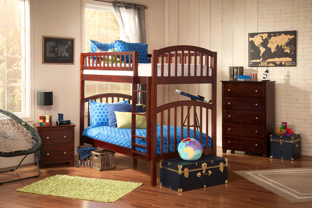Contemporary Twin Twin Bunk Bed Youth Atlantic Furniture