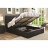 Riverbend Queen Black Leatherette Upholstered Bed with Lift Top Storage