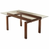 Rossine Rectangular Glass Dining Table with Wood Base