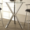 Round Pub Table with Glass Top and X-Shaped Chrome-Colored Base