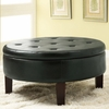 Round Upholstered Storage Ottoman with Tufted Top # 501010