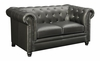 Roy Traditional Button-Tufted Love Seat with Rolled Back and Arms