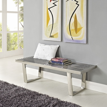 SAUNA 4' STAINLESS STEEL BENCH IN SILVER