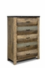 Sembene Rustic Five Drawer Chest with Metal Accent