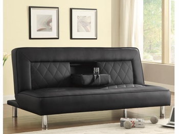 Sofa Beds and Futons Sofa Bed in Black Leatherette with Drop Console & Cup Holders