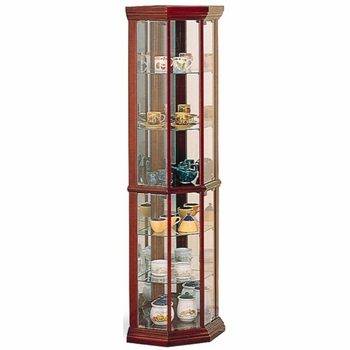 6-Shelf Corner Curio Cabinet Medium Brown # 3393