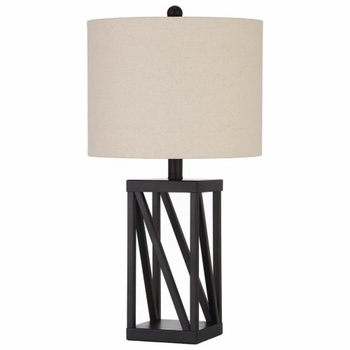 Table Lamp with Geometric Base and Drum Shade
