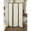 3-Panel French Script Print Folding Screen Espresso 900074