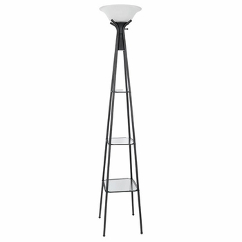 Torchiere Floor Lamp with Clear Glass Shelving 901420