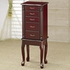 Traditional Queen Anne Style Jewelry Armoire in Cherry Finish