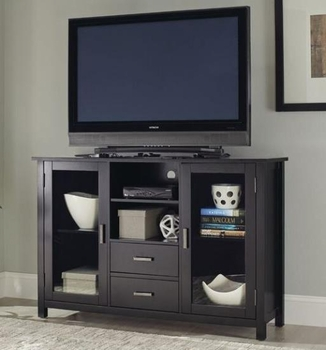 Trista Black Transitional TV Stand with Glass Doors