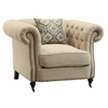 Trivellato Traditional Button Tufted Chair with Large Rolled Arms and Nailheads