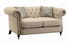 Trivellato Traditional Button Tufted Loveseat with Large Rolled Arms and Nailheads