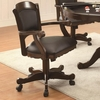 Turk Arm Game Chair with Casters and Fabric Seat and Back
