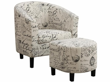 Two-Piece Accent Chair and Ottoman Set in French Script Pattern