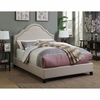 Upholstered California King Bed with Scalloped Headboard