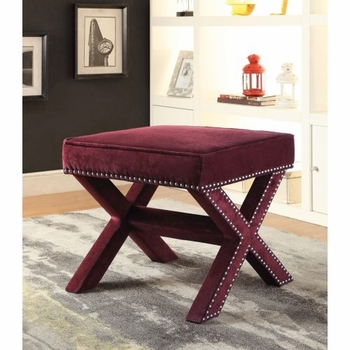 Upholstered Ottoman With Nailhead Trim