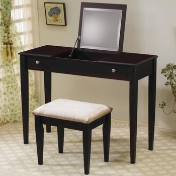 Vanities Contemporary Flip Top Vanity and Stool with Fabric Seat
