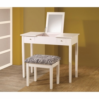 Vanities Contemporary White Lift-Top Vanity with Upholstered Stool